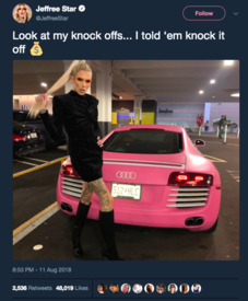 dc1f25cae Because someone has a pink car they re copying him  Christ what a  narcissist. I don t know if it s the outfit or the pose ...